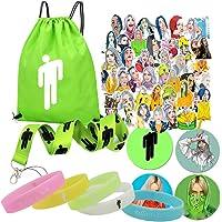Billie-Bag Gift Set for Fan-1 Pack Drawstring Bag Backpack,53 Pcs Laptop Stickers,4 Button Pins,5 Silicone bracelet,1 Lanyard,1 Necklace