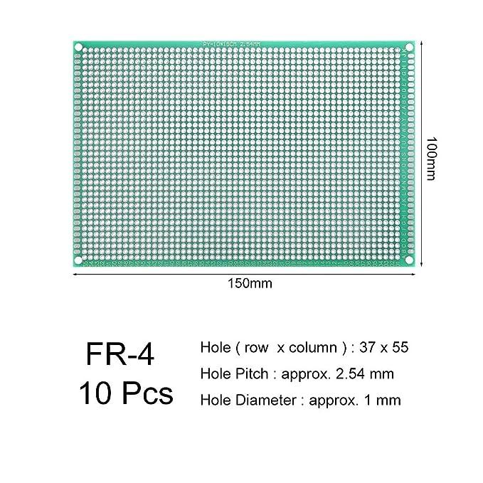 10 x 15 cm, 10 unidades Placa de circuito impreso universal de doble cara Sourcingmap