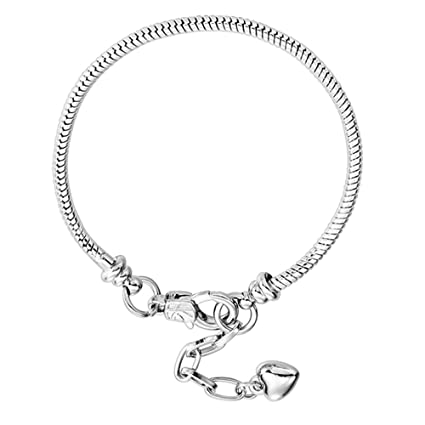 96837c373bcd6 RUBYCA 10pcs White Silver Plated Heart Lobster European Snake Chain  Bracelets fit Charm Beads 7.5