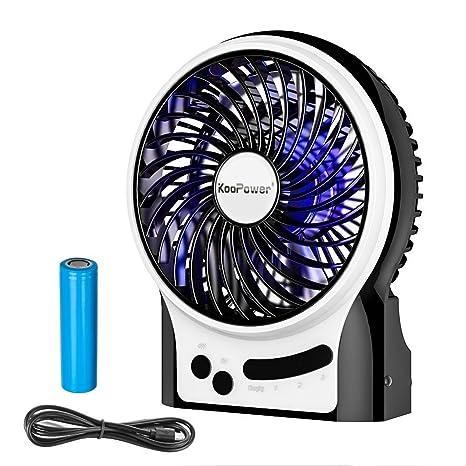 KooPower Mini ventilador USB portátil de escritorio, con pila recargable, para la