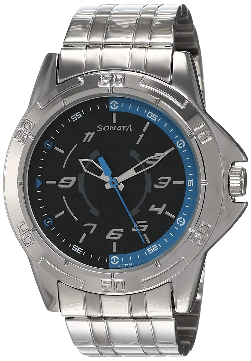 Sonata Analog Black Dial Men's Watch -NM77001SM01 / NL77001SM01