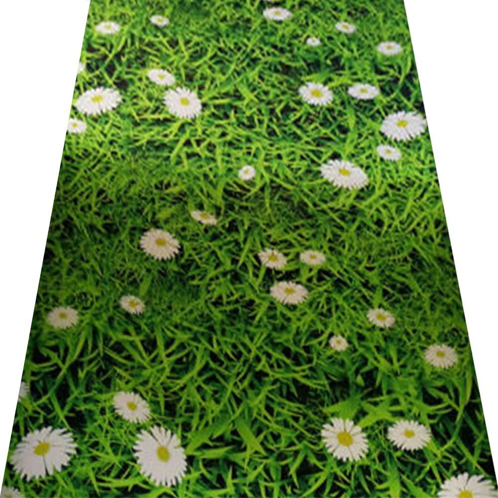 YANGJUN-Läufer Teppich Flur Rutschfest Verschleißfest Waschbar Vermischt Haushalt Gänseblümchen Wiese 3D Ländlich Stereoskopisch Grün Anpassbare (Farbe   A, größe   0.8x4m) B07PQJFSHL Lufer