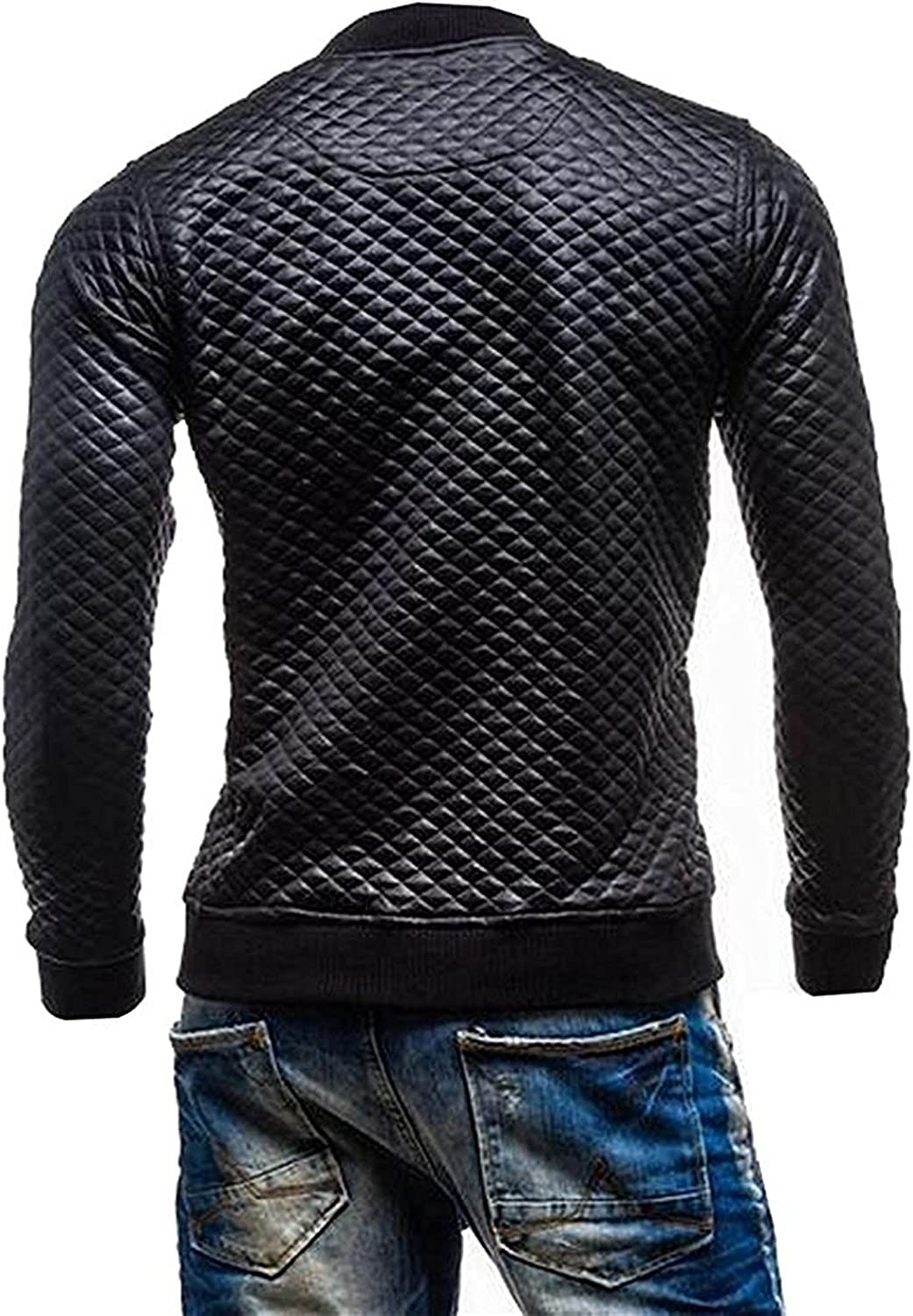 OnIn Mens Casual Stand Collar Diamond-Quilted Leather Jacket