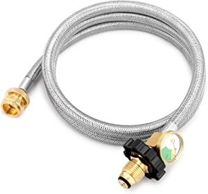 Kohree Propane Adapter Hose 1lb to 20lb Converter, 5FT Stainless Braided POL Propane Hose with Gauge for Coleman Stove, Tabletop Grill, Buddy Heater and More 1 LB Portable Appliance to 5-100 LB Tank