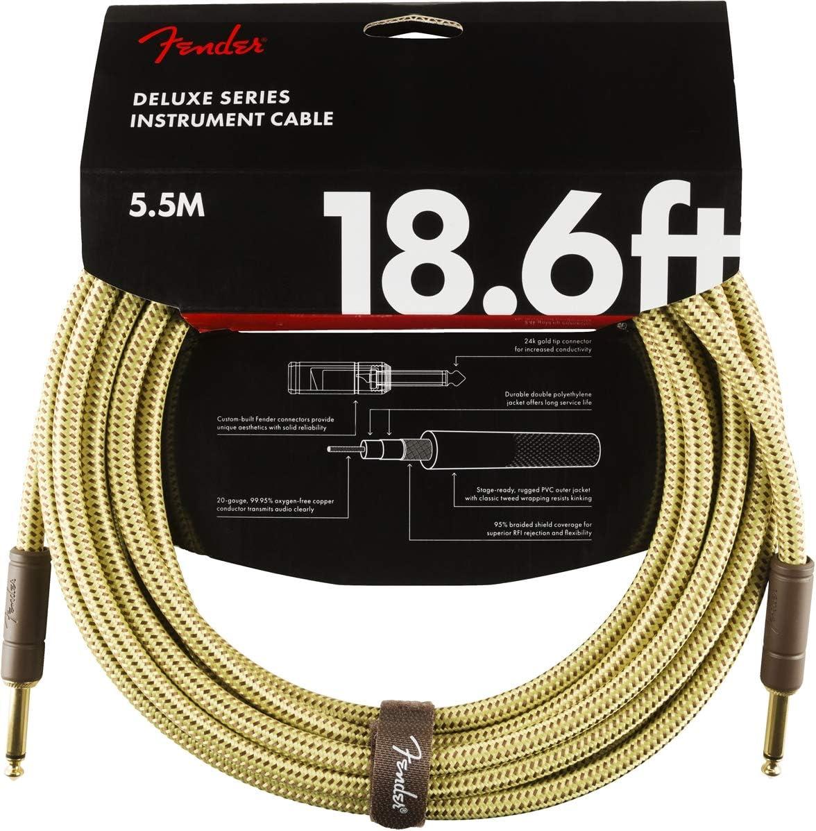 Black Tweed STR//STR 15 ft FENDER Deluxe Series Instrument Cable