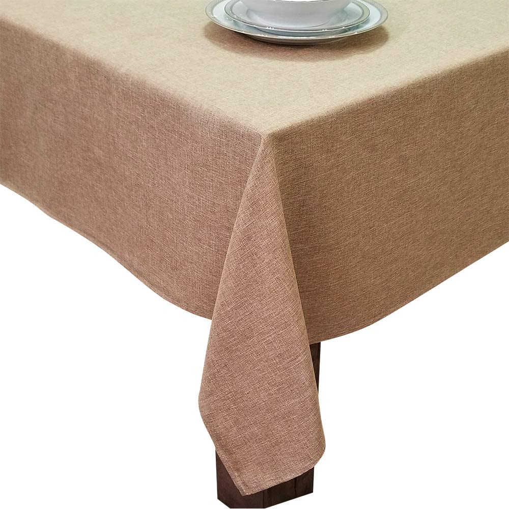 HomChic, Linen Look,Washable, Spill Proof, Heavy Weight, Treated Polyester Tablecloth,60 x 84 inch Rectangle Brown
