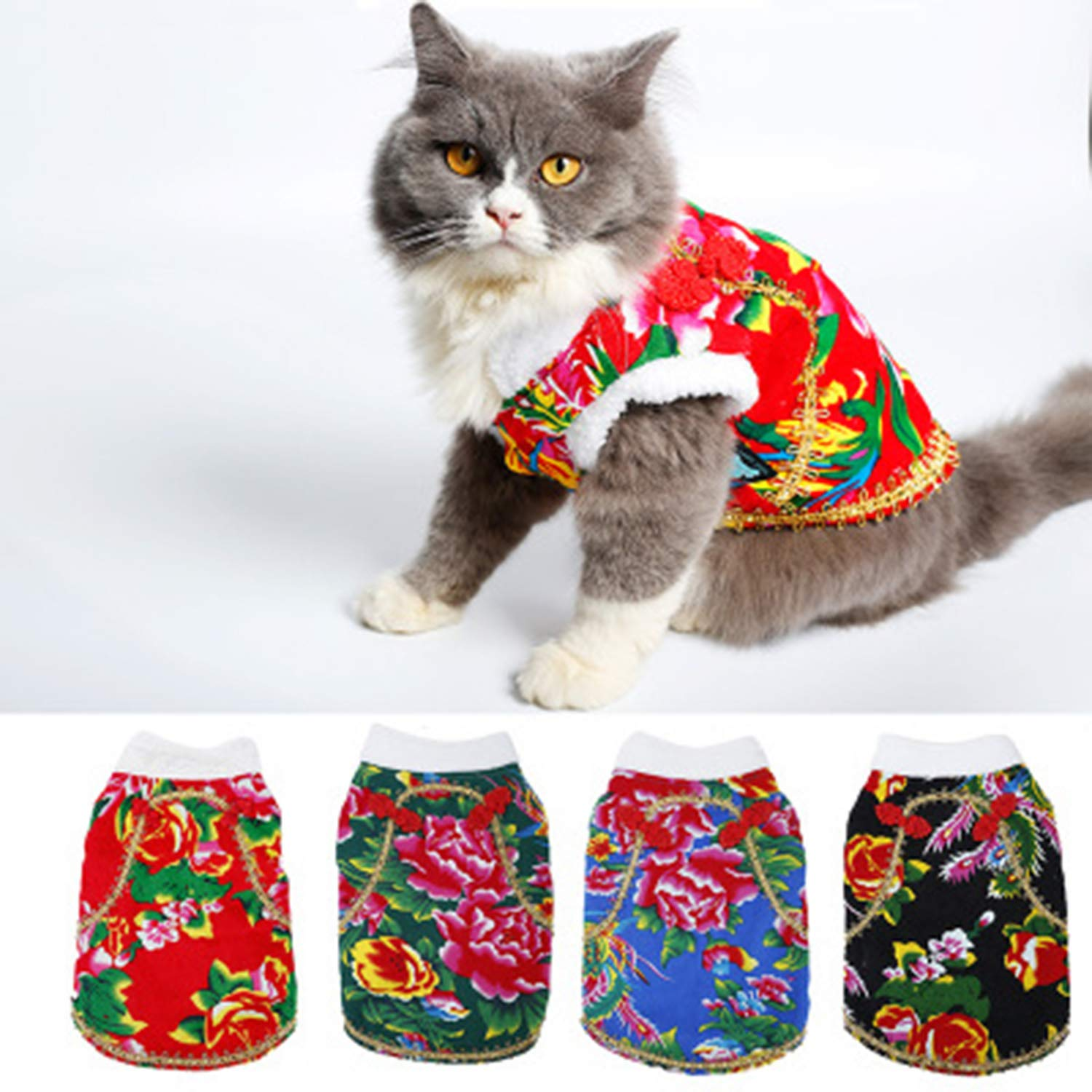 X-Small Pet Supplies Autumn and Winter Dog Cat Clothes Thick Warm Cotton Jacket Cotton Coat 4 Pcs