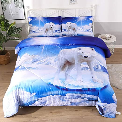 3D Cotton Wolf In the Snow Duvet Cover Bedding Set Pillowcase Queen US Shipped