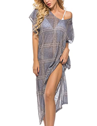 Amzmem Womens Beach Cover up Swimsuit Kimono Cardigan with Bohemian Floral Print Blue Square 10 at Amazon Womens Clothing store:
