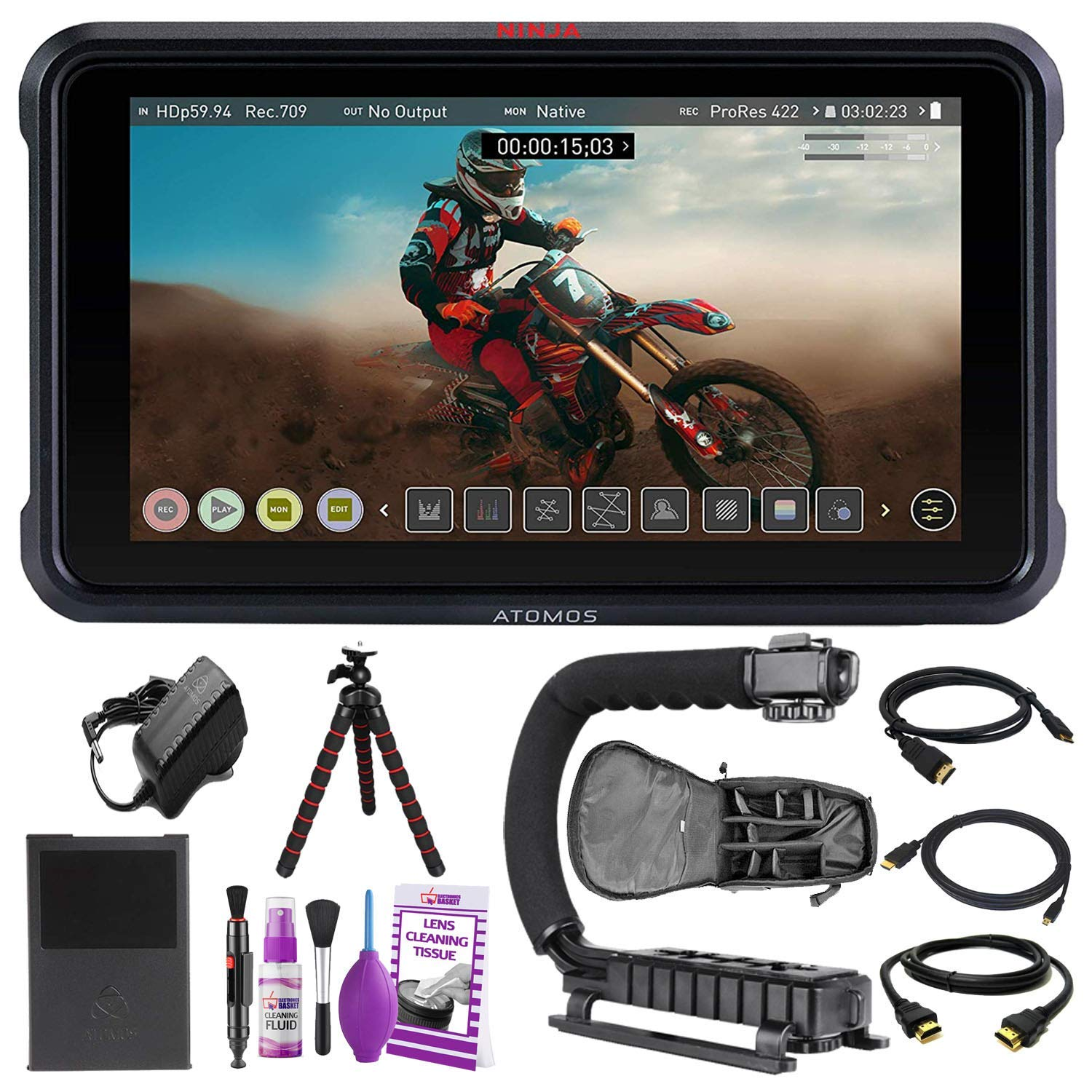"""Atomos Ninja V 5"""" Inch 4K HDMI Recording Monitor Advanced Accessory Bundle with Padded Backpack + Tripod + Cleaning Kit + HDMI Cables + More"""