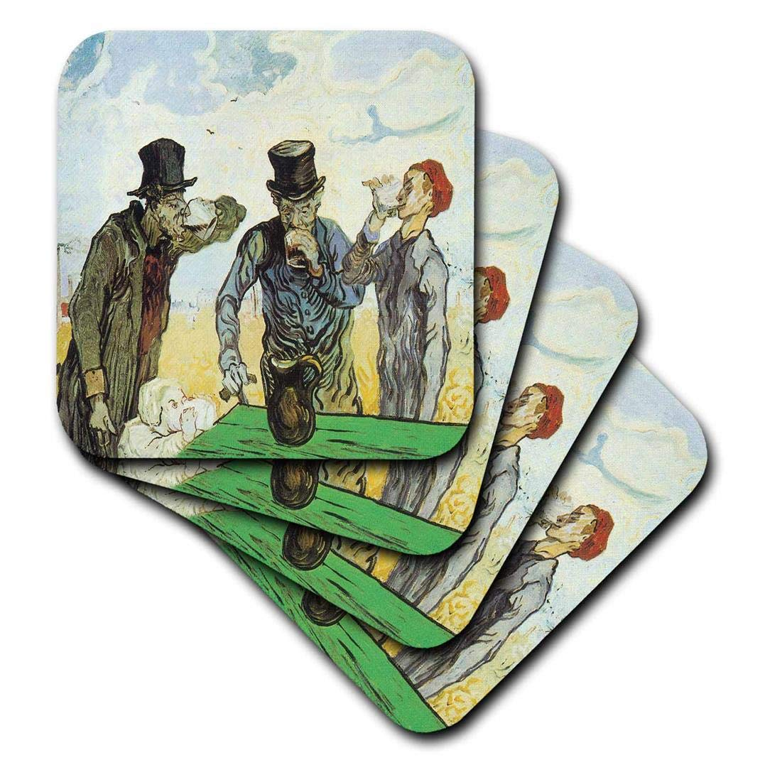Set of 4 3dRose CST/_128163/_3 The Drinkers by Vincent Van Gogh Ceramic Tile Coaster