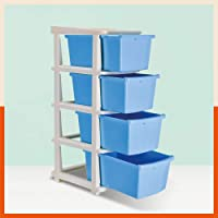 Bathla Stomo 4 - Large Multi-Purpose Modular Drawer Storage System for Home and Office with Trolley Wheels and Anti-Slip…