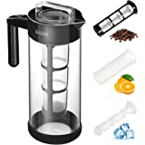 Cold Brew Coffee Maker (1.3L/44OZ Iced Tea&Coffee Maker) 4-IN-1 BPA Free Glass Coffee Brewer System; Dishwasher Safe Coffee Filter Pitcher Carafe with Non-slip Silicone Base / Spout Lid / Mesh Filter