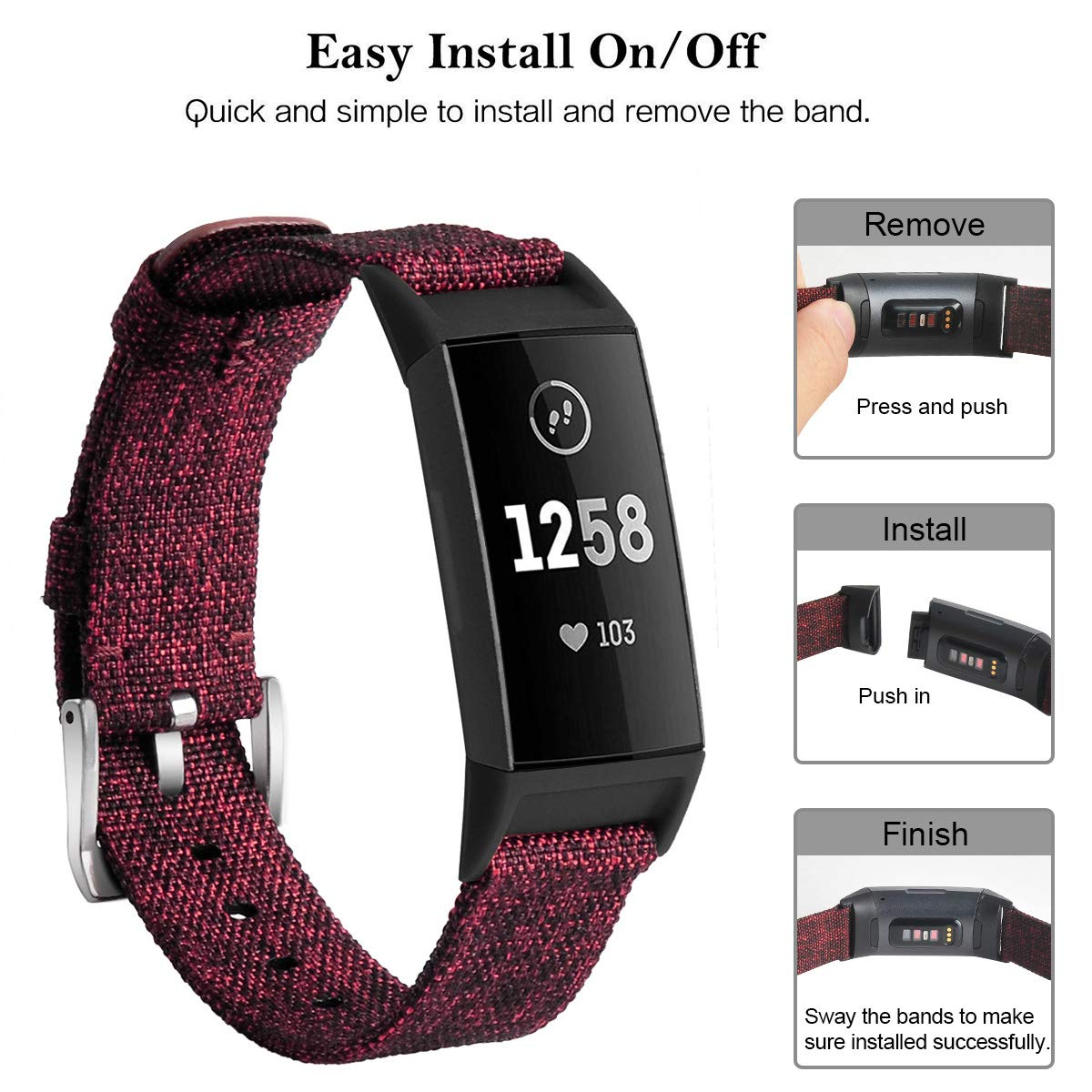 Soft Breathable Fabric Cloth Replacement Wristbands Strap Sports Accessories Small Large for Women Men hooroor Canvas Woven Band Compatible for Fitbit Charge 3 Bands and Charge 3 SE Band