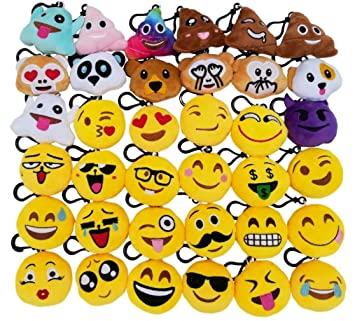 36 Piezas Mini Emoji Felpa Llavero Emoji Fiesta de cumpleaños, decoración, decoración de la Pared y Favor de Fiesta (36pcs)