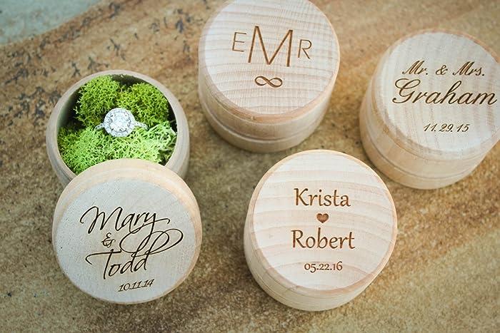 Amazon.com: Custom Engraved Wedding Ring Box, Personalized ...