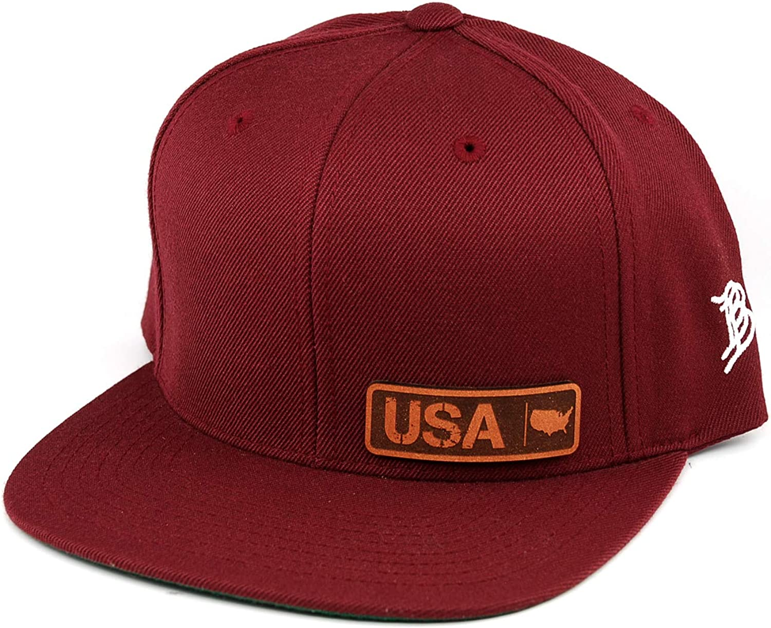 Branded Bills /'USA Native Leather Patch Snapback Hat OSFA//Maroon