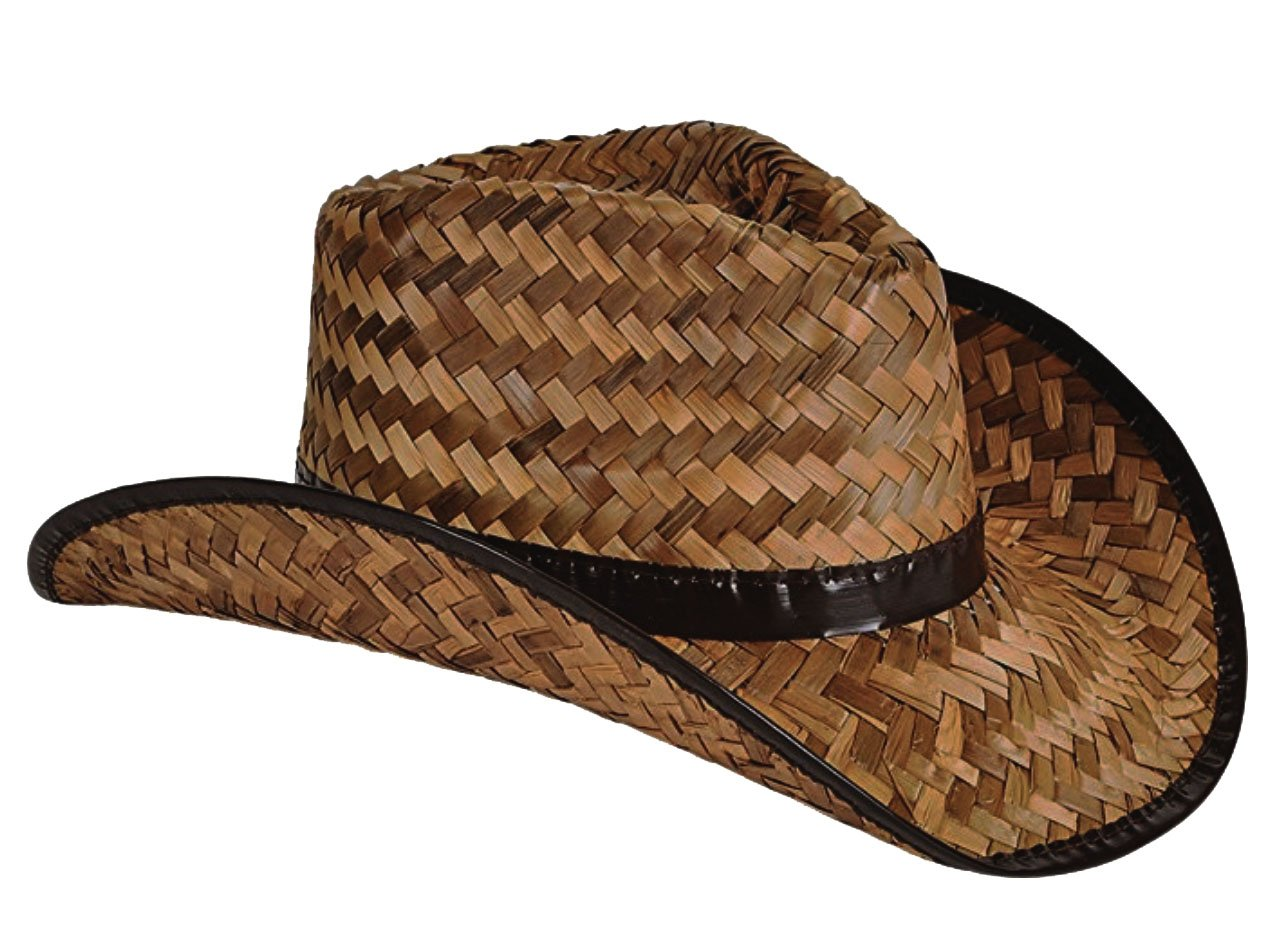 Bottles N Bags 2 Pack Stained Brown Woven Straw Cowboy Hats for Men and Women, Great Rodeo and Outback Costume Accessory
