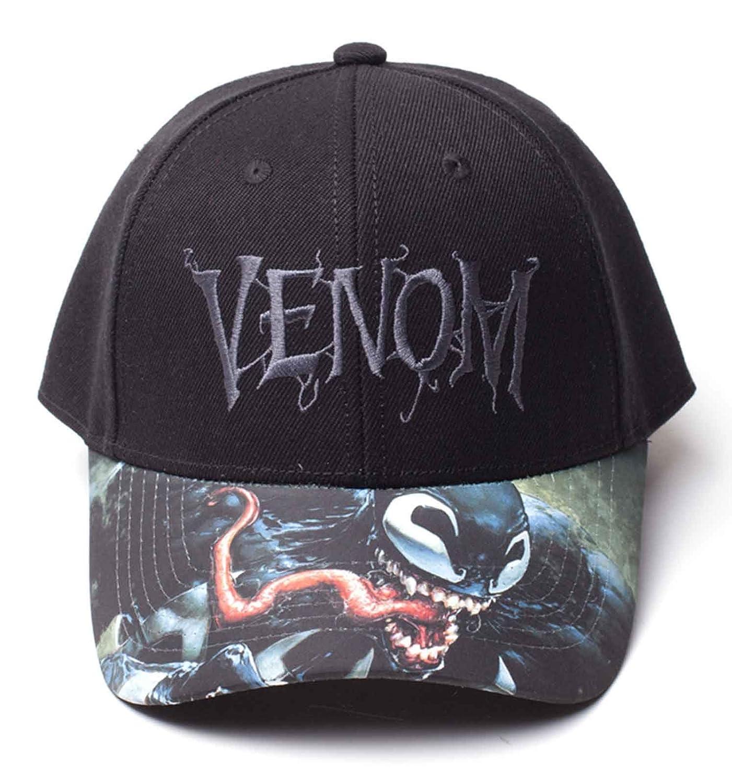 Amazon.com  Marvel Venom Baseball Cap Printed Bill Movie Logo Official  Black Snapback  Clothing c6414785f18