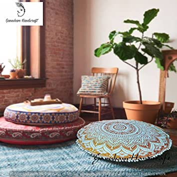 Ganesham Handicrafts- Round Mandala Pillow Throw, Living Room Decor, Boho  Decor, Hippie Round Seating Pouf Ottoman, Mandala Floor Pillows With Pom  Pom ...