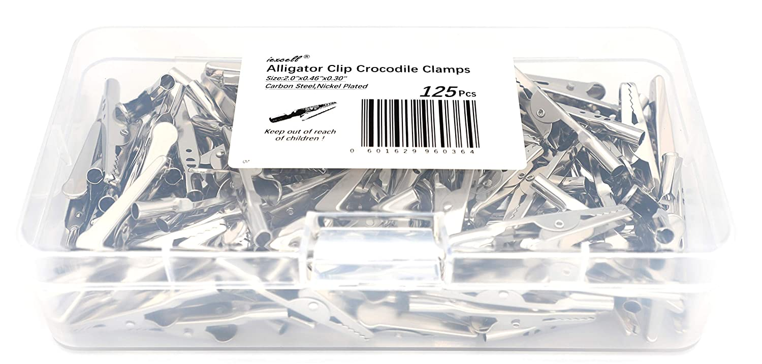 iExcell 125 Pcs 2//51mm Steel Alligator Clips Crocodile Clamps,Silver Tone Nickel Plated Come in a Plastic Case