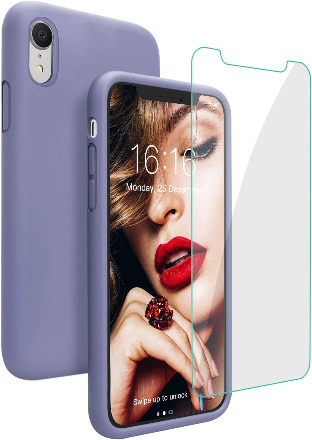 JASBON Case for iPhone XR, Soft Liquid Silicone iPhone XR Case with Tempered Glass Cover for Apple XR-Lavender