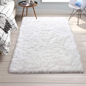 Rectangle Ultra Soft Fluffy Bedroom Rugs Luxury Faux Fur Sheepskin Area Rug, Plush Furry Shaggy Carpet for Living Room Floor Accent Fuzzy Nursery Bedside Girls Pricess Room Decor, 5x8 Feet, White