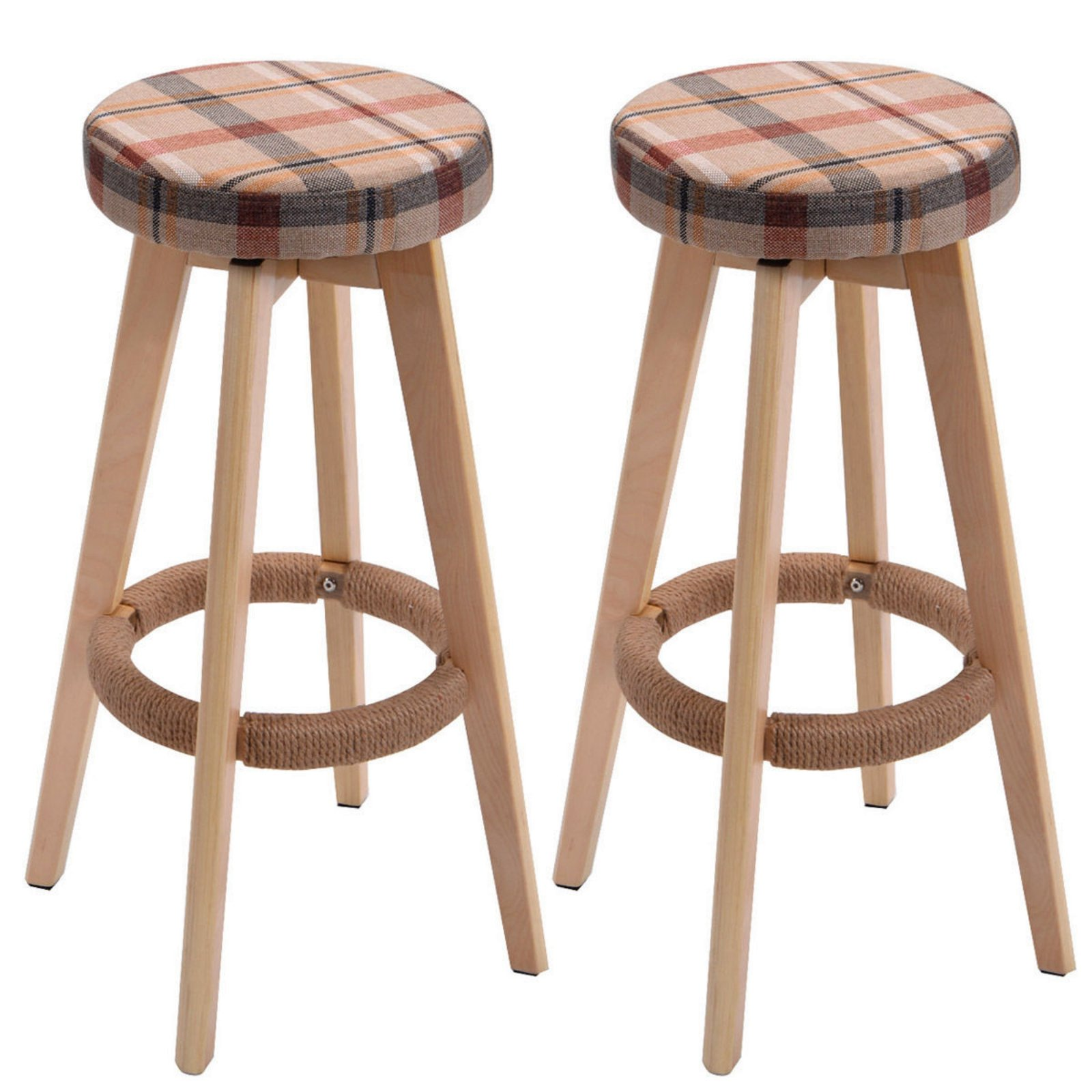 Set of 2 Winsome Round Wood Bar Stool Dining Chair Counter Height 29-Inch Brown #728