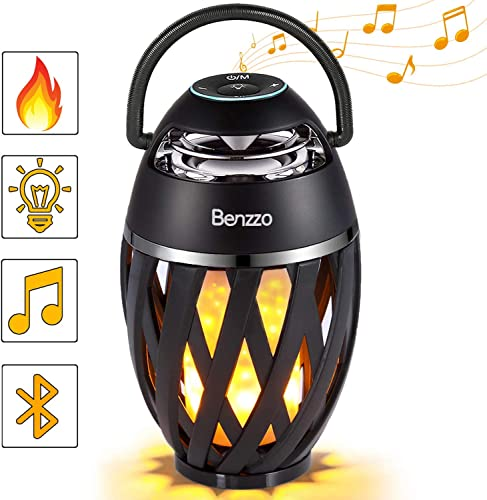 LED Bluetooth Speaker by Benzzo – Portable Desk Lamp Flickers Flame Light and HD Sound Wireless Speakers with Exclusive Bass and Easy Carrying Handle for Outdoor – for iPhone iPad Android