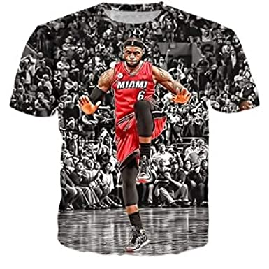 a0f09ff21bba Amazon.com  WEEKEND SHOP T-Shirts Star Lebron James 3D Print Fashion T Shirt  Style Casual Tee Shirts  Clothing