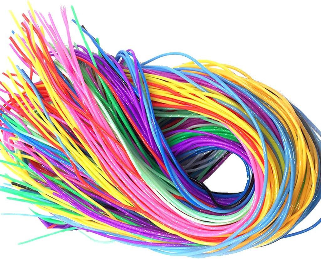 Feelairy 120 piezas Cintas Scobydoo Neón, cuerda trenzada de plástico Scoubidou Craft Ropes en 12 colores Bandas de cinta de plástico Cinta de anudado para joyas Fabricación de joyas Artesanía DIY