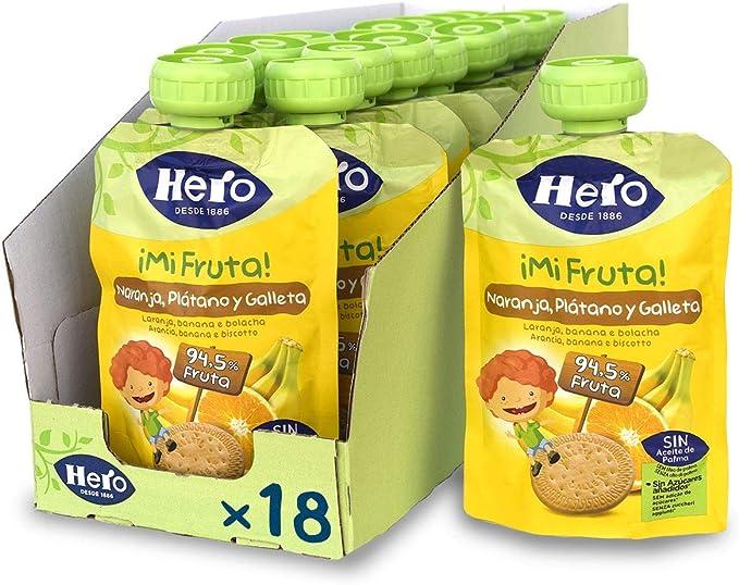 Hero Baby Mi Fruta - Bolsita de Fruta con Naranja, Plátano y Galleta, Sin Azúcares Añadidos, para Bebés a Partir de los 12 Meses - Pack de 18 x 100 g: Amazon.es: Alimentación y bebidas