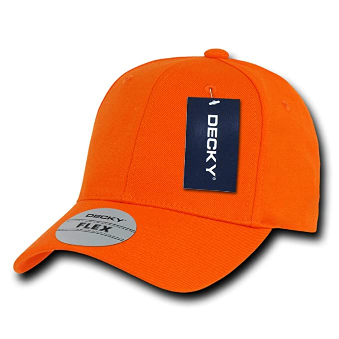 045a96d98e4 Orange Plain Solid Blank Flex Baseball Fit Fitted Ball Cap Hat - One ...