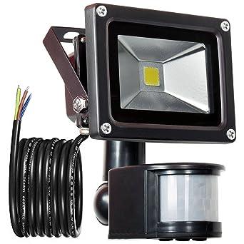 Du Blanc Capteur 900lm De extérieur Imperméable Lumière 10w Détecteur Lumière Jour Led Pir Mouvement Projecteur Glw 240v Ip65 6000k ARL3jq54