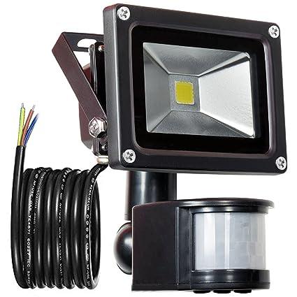 GLW 900lm 10W PIR Sensor de Movimiento LED Luz de Inundación,Exterior IP65 Impermeable Sensor de Movimiento Foco,240V,6000k Luz del Día Paisaje Blanco ...