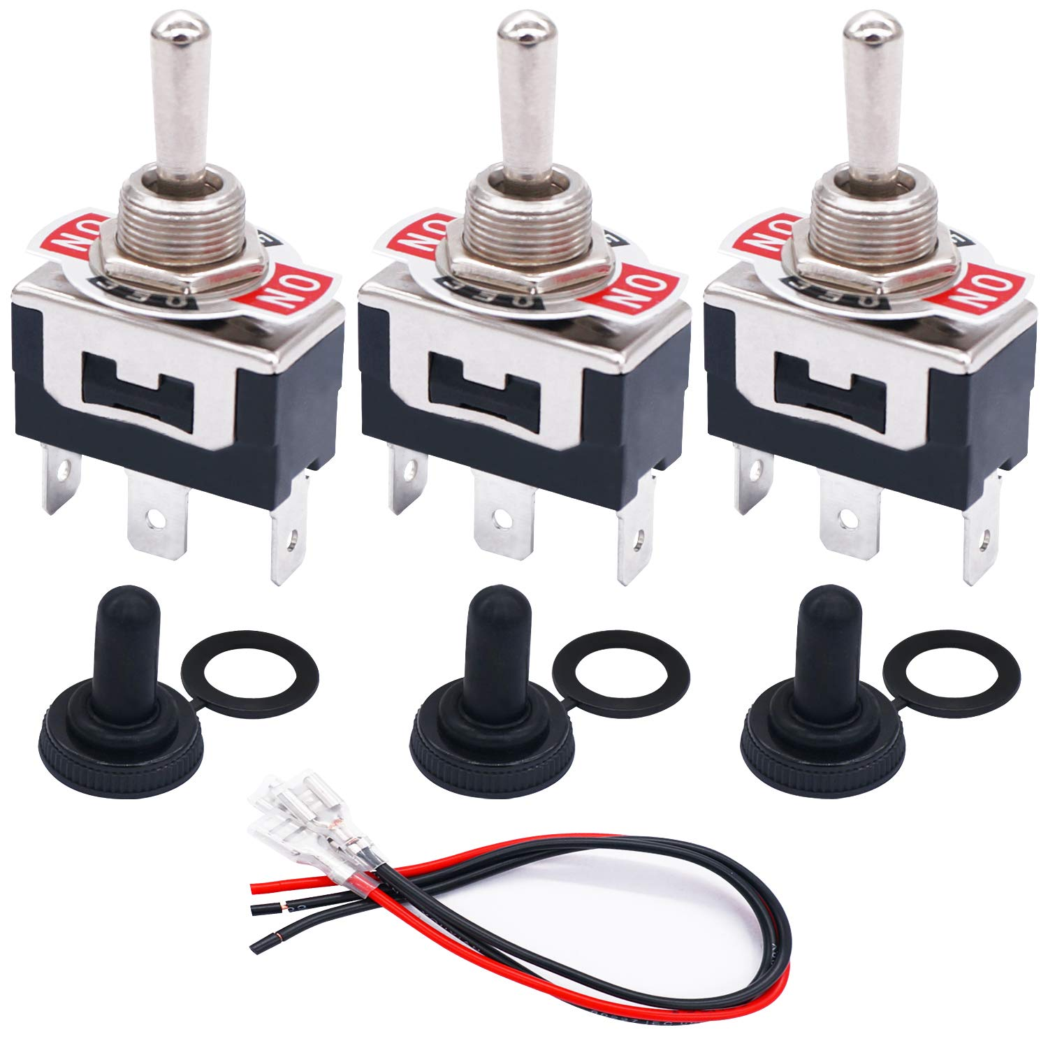 ON //OFF// ON TWTADE 3Pcs Momentary Toggle Switch 3 Pins 3 Position SPDT Heavy Duty Rocker Toggle Switch 16A 250VAC Spade Terminal Metal Bat Switch With Waterproof Boot Cap And 6.4mm Wires TEN-123MZX