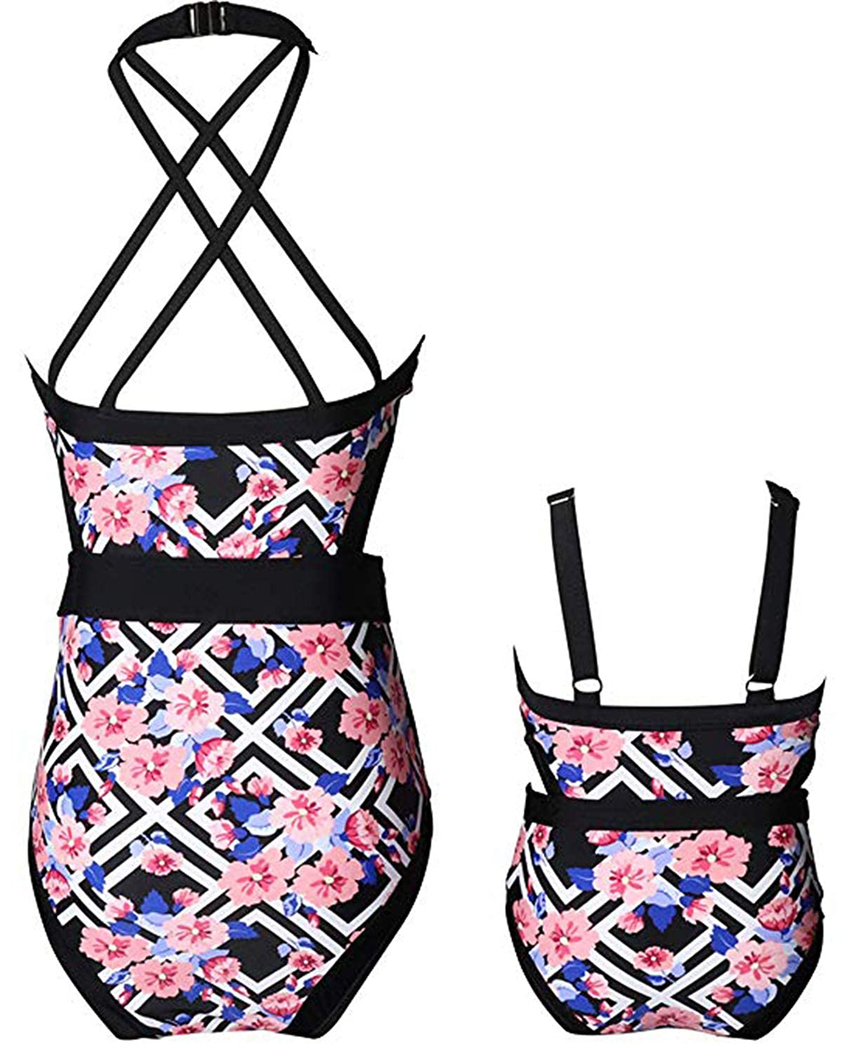 Mommy and me Swimsuits Floral Women Girls Bikini Sets One Piece Family Matching Beach Swimwear