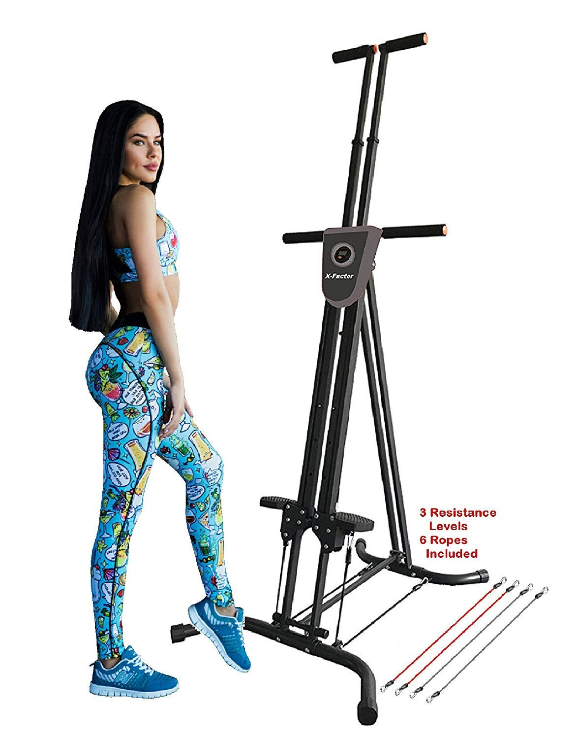 XファクタークライマーカーディオエクササイズVertical Climber Cardio Exercise X-Factor with monitor and resistance straps for smooth climbing   B07DTLDJMM