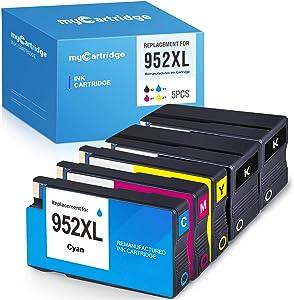 myCartridge Remanufactured Ink Cartridge Replacement for HP 952XL 952 XL (Black, Cyan, Magenta, Yellow, 5-Pack)