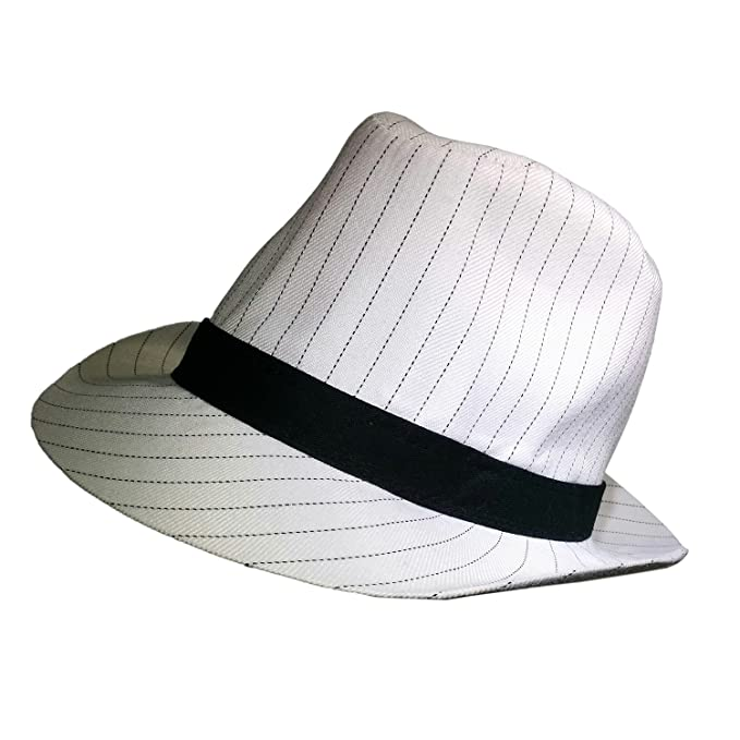 Image Unavailable. Image not available for. Color  Roaring 20 s White  Pinstripe Gangster Mob Cotton Fedora Hat Costume Accessory 645f21ee06dc