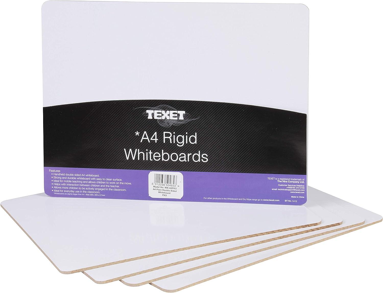 Esta pizarra blanca de Texet es un producto oficial suministrado a las organizaciones educativas de compra dentro del Reino Unido Pizarra blanca lisa Texet Pack de 5 A4 Tablero r/ígido