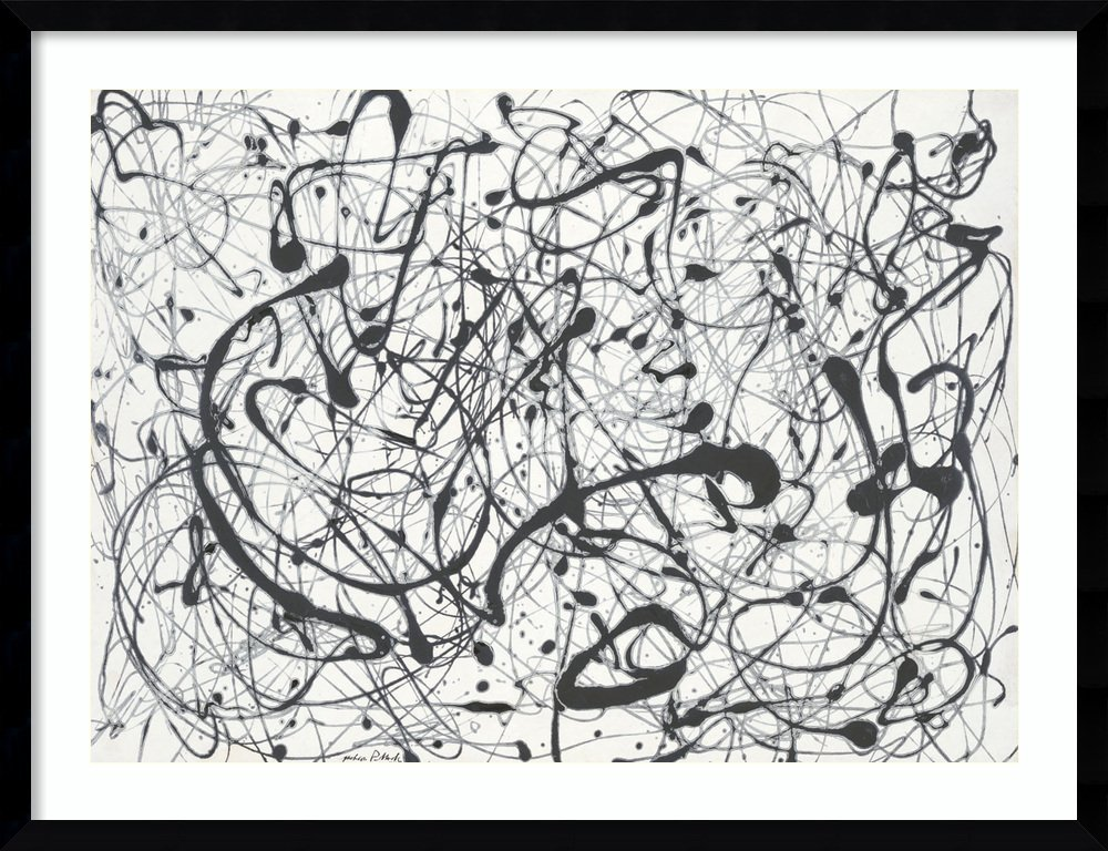 Framed Art Print 'Number 14:Gray' by Jackson Pollock: Outer Size 33 x 26 by Amanti Art