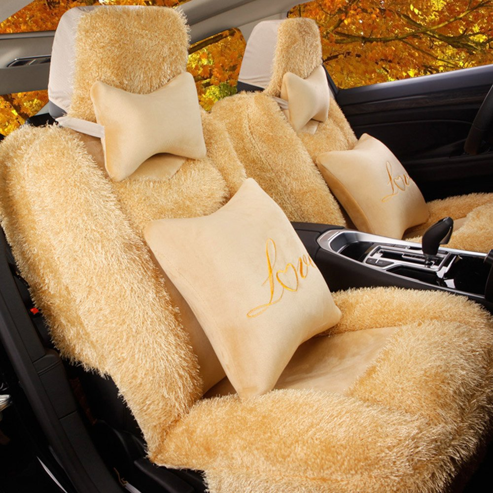 5 Pcs Universal Car Seat Cover Set Cushions Front Rear Coral Fleece Soft And Warm For Winter Driving (L, Beige)