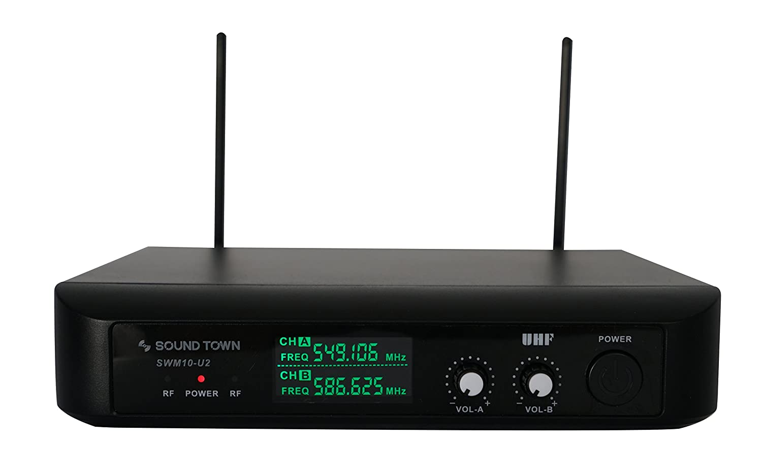 Sound Town Professional Dual-Channel UHF Handheld Wireless Microphone System with LED Display, 2 Handheld Mics (SWM10-U2HH) JAYLYN SOLUTIONS GROUP INC.