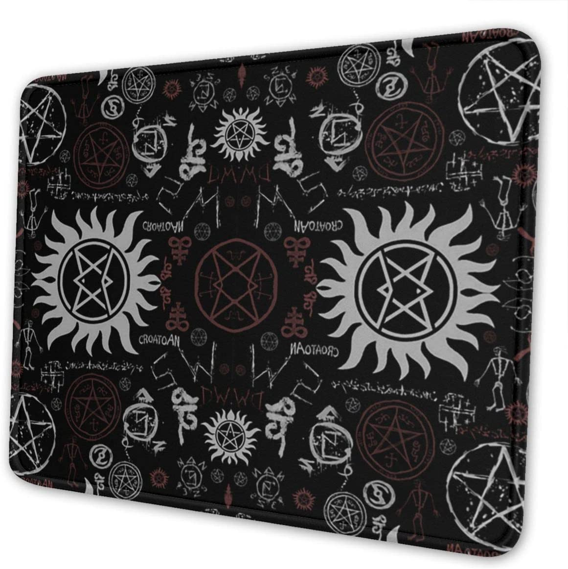 Supernatural Symbols Black Gaming Mouse Pad with Stitched Edges, Customized Rectangle Mousepad Non-Slip Rubber Base for Computer Laptop Office Accessories 9.5 x 7.9 Inch