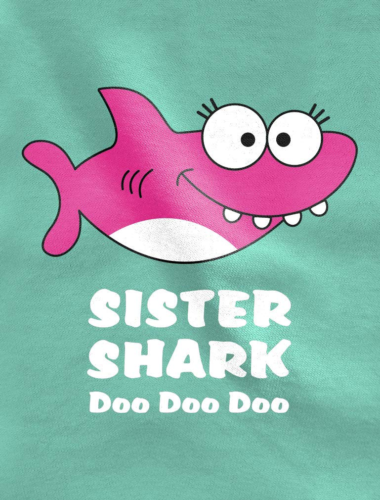 Shark Shirt for Sister Gift for Big Sister Toddler Kids Girls' Fitted T-Shirt
