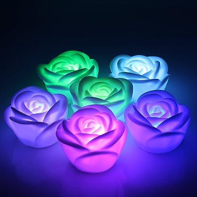 Aussel 6 Pieces Fantaisie Changement Colore Led Rose Fleur