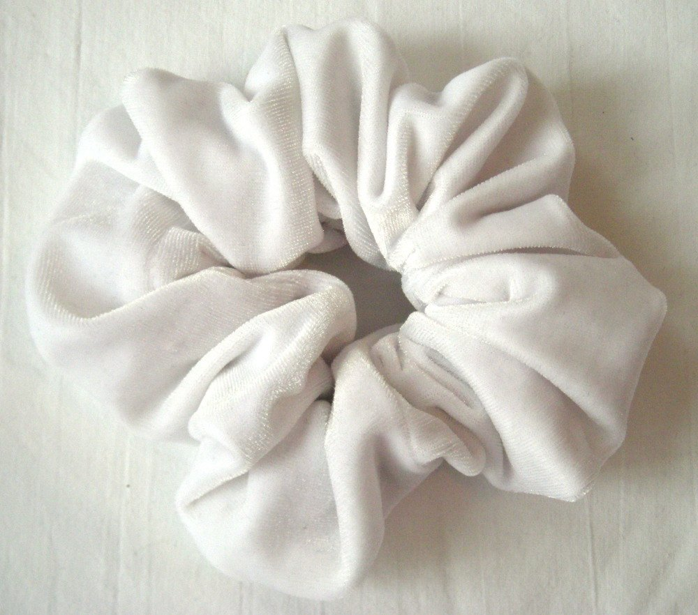 White Velvet Hair Scrunchy-Regular