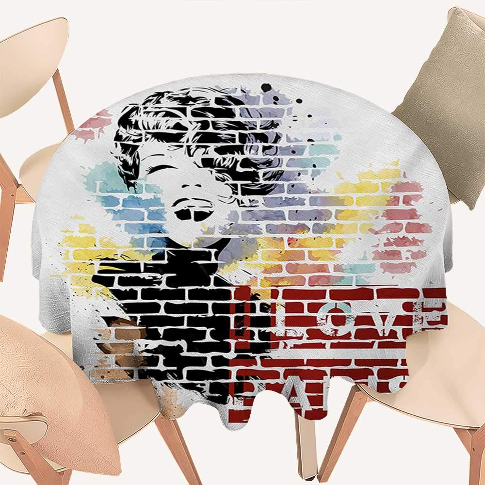 "W Machine Sky Paris Fabric Tablecloth I Love Paris Typography and Woman Figure on Street Wall Design Cool Artwork Print Round Tablecloth D 54"" Multicolor"