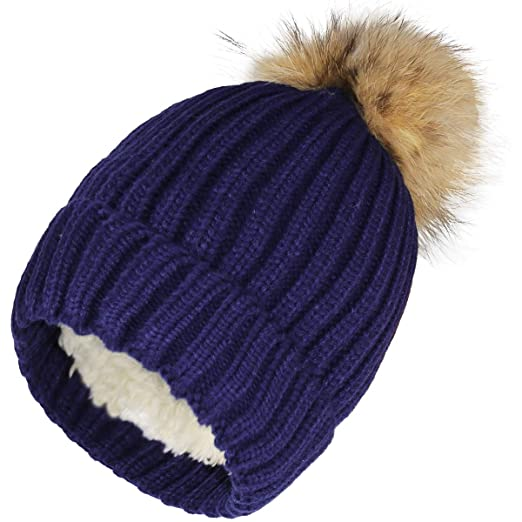 a749643bf258c JNINTH Trendy Warm Knit Hat Real Fox Raccoon Fur Pom Pom Cuff Beanie for  Women Girls Kids